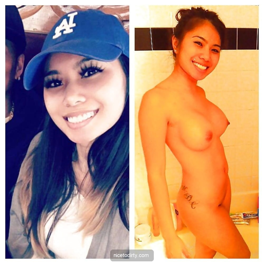 Cute Asian college girl shown dressed with a hat versus naked