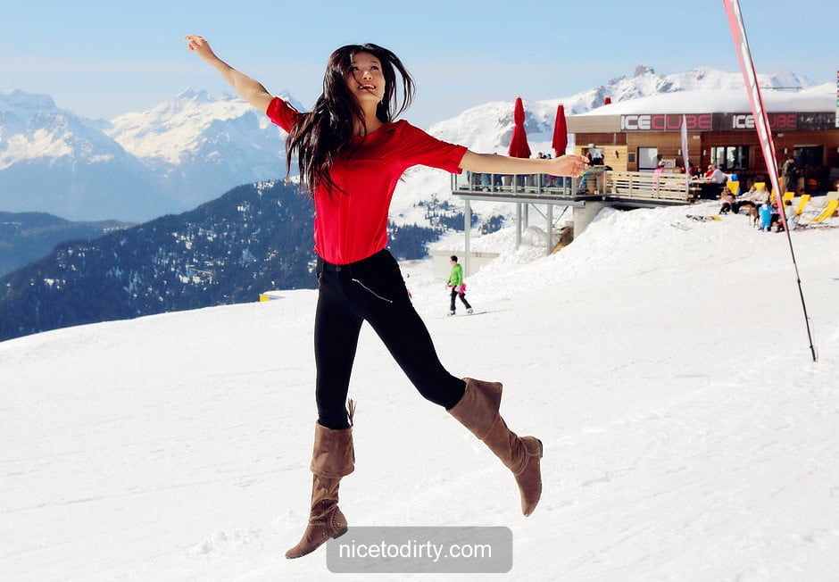 Naked Cute Asian Instagram Model Anna Xiao Jumping On The Snow And Wearing A Red Shirt And Black Pants
