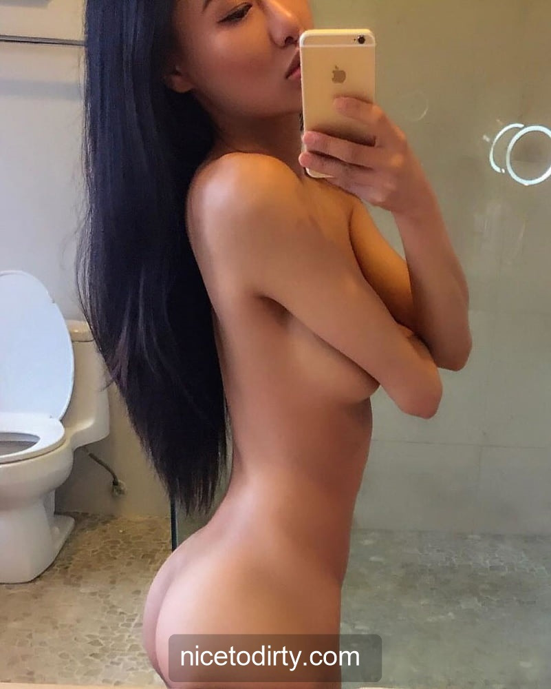 Naked Cute Asian Instagram Model Anna Xiao Taking Naked Selfie IN The Washroom