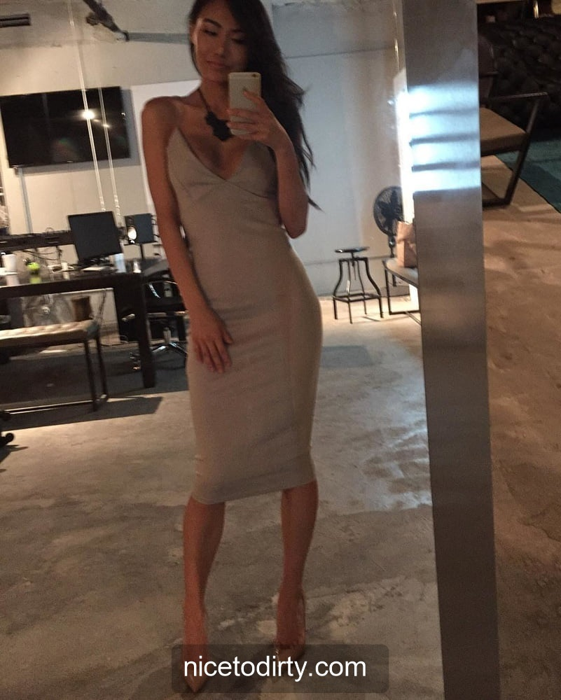 Naked Cute Asian Instagram Model Anna Xiao Wearing A Nice Dinner Dress