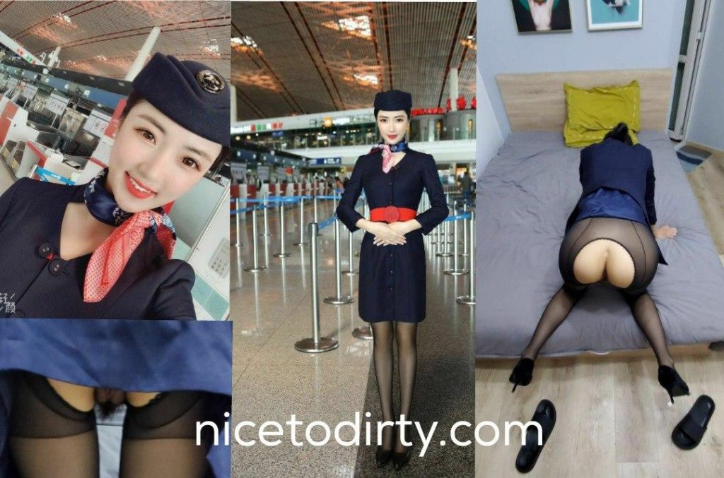Naked flight attendants shown also wearing uniform